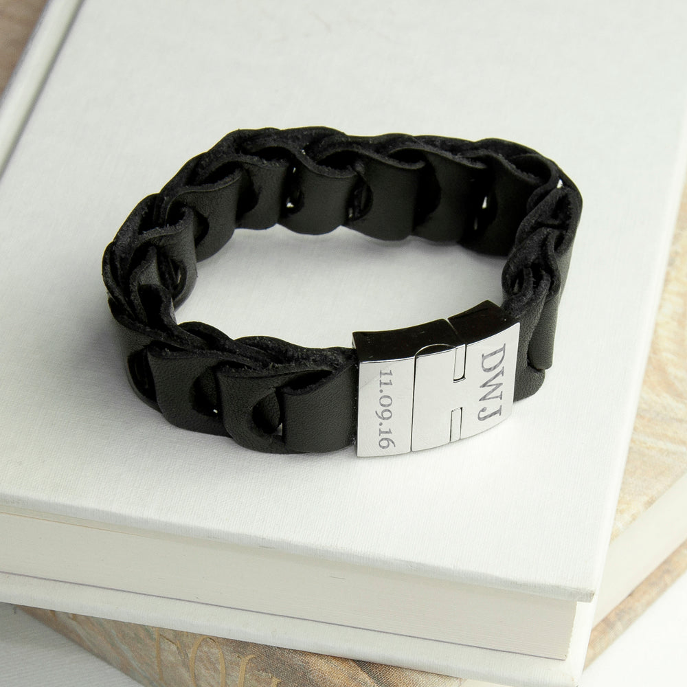 Personalised Men's Intrepid Leather Bracelet - treat-republic