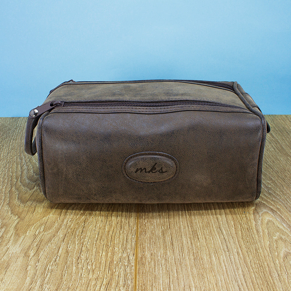 Men's Personalised Suede Textured Double Zipped Wash Bag - treat-republic