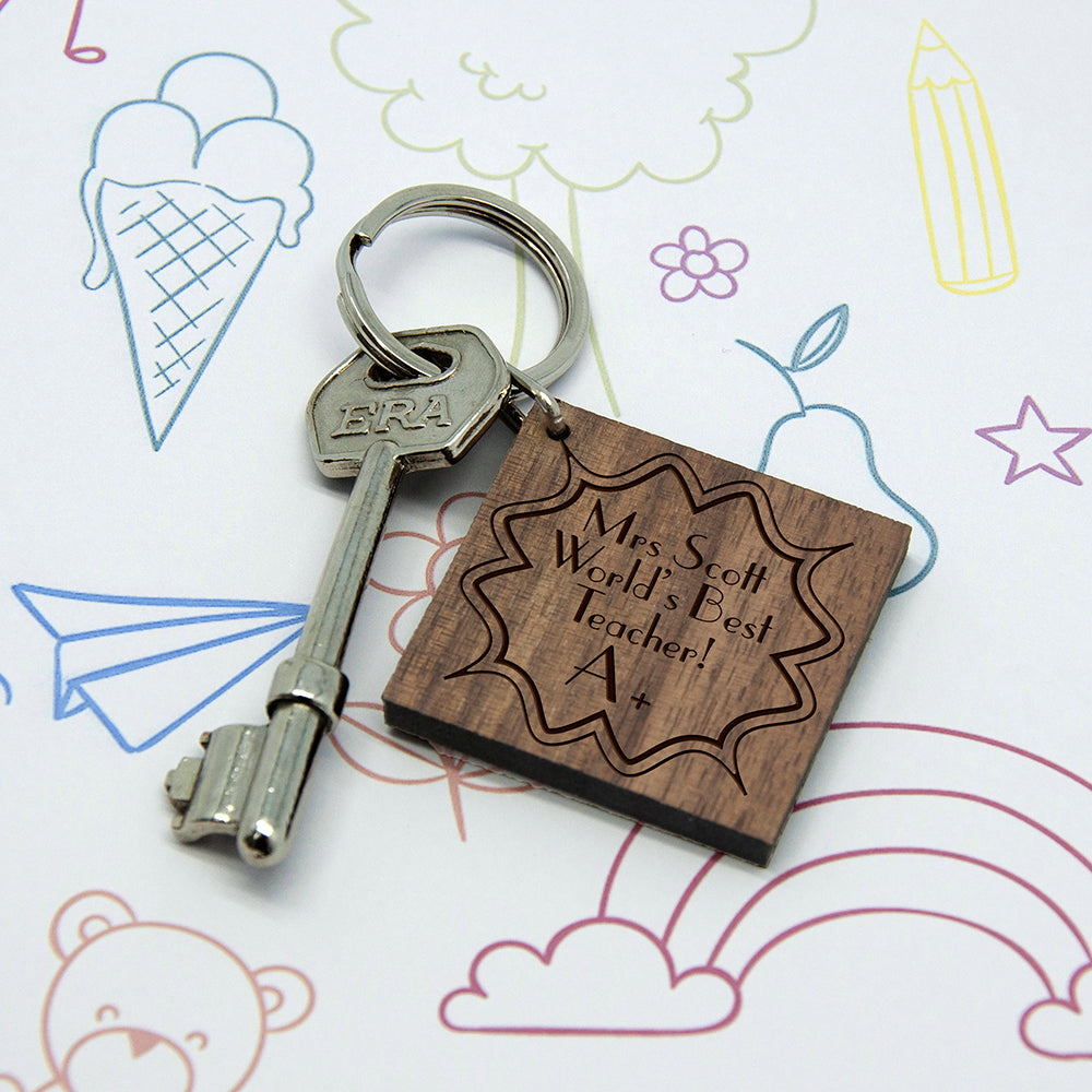 Personalised A+ Teacher Square Keyring - treat-republic
