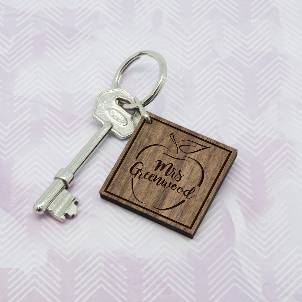 Personalised Teacher's Apple Square Keyring - treat-republic