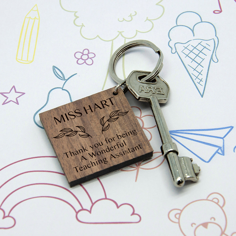 Personalised Thank You Keyring For Teaching Assistant - treat-republic