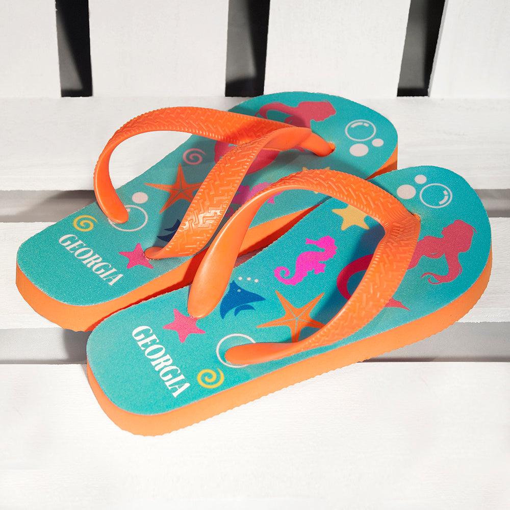 Under The Sea, Mermaid Child's Personalised Flip Flops - treat-republic