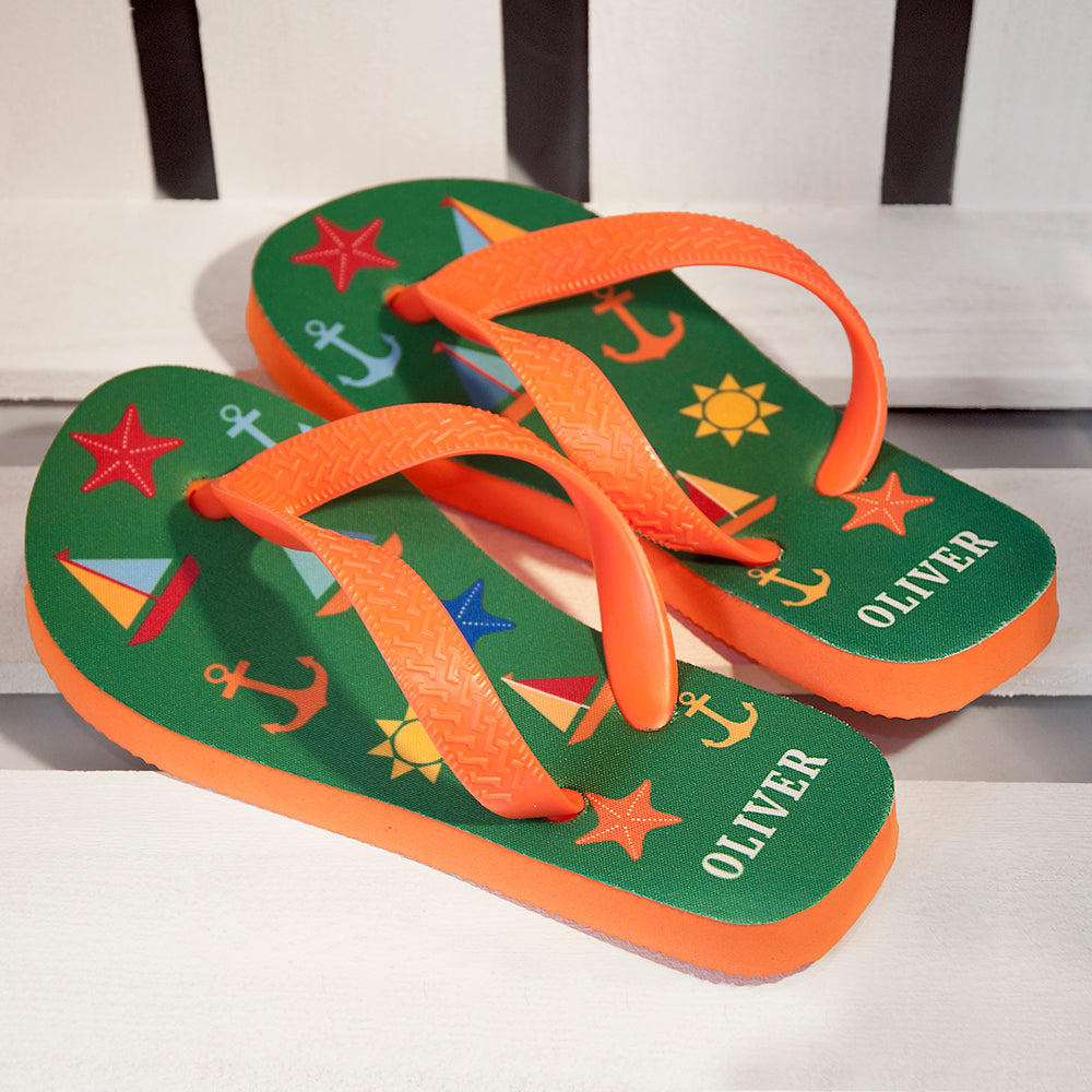 All The Fun At The Beach Child's Personalised Flip Flops In Green - treat-republic