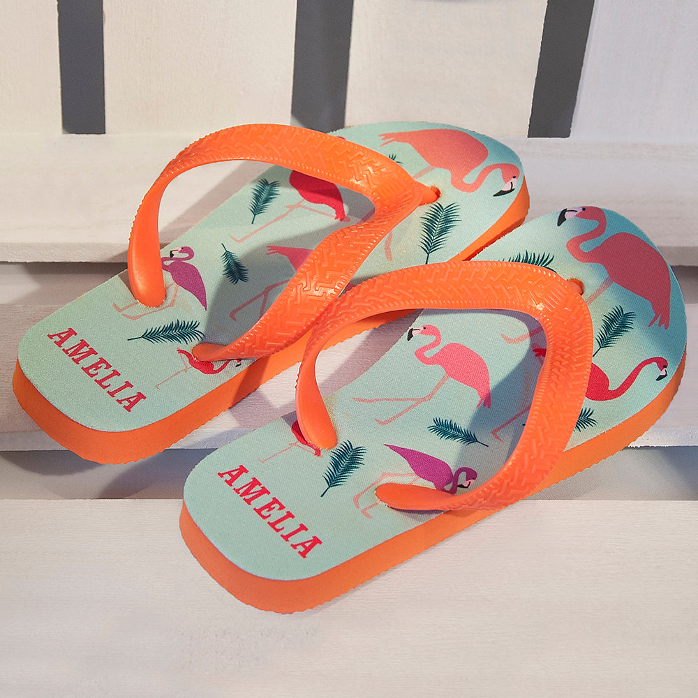 Fabulous Flamingos Child's Personalised Flop Flops - treat-republic
