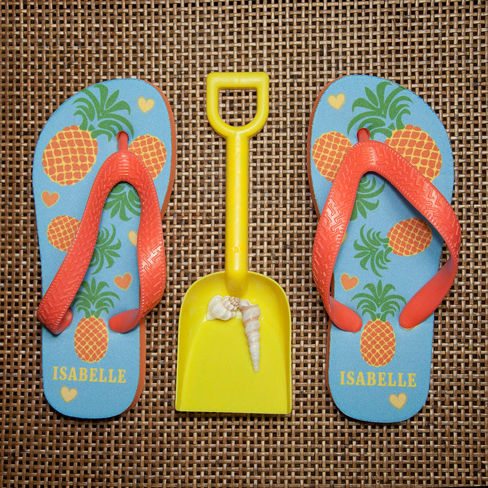 Partying Pineapples! Child's Personalised Flip Flops - treat-republic
