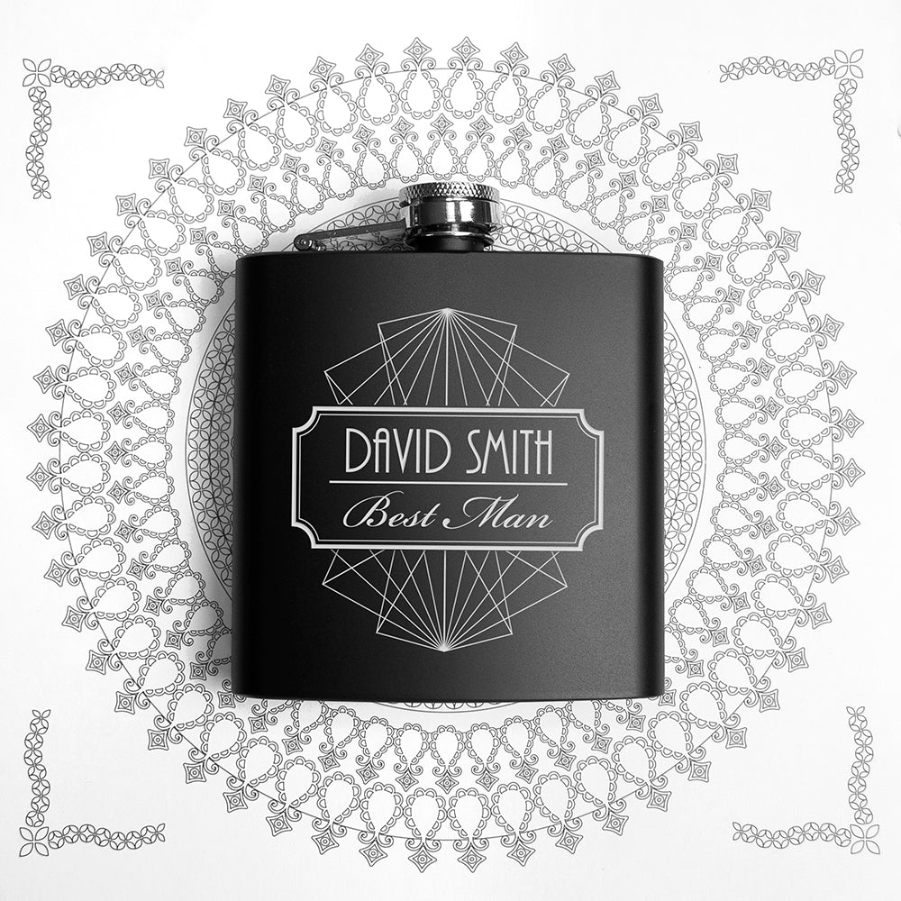 Thank You For Being My Best Man Black Matte Hip Flask - treat-republic