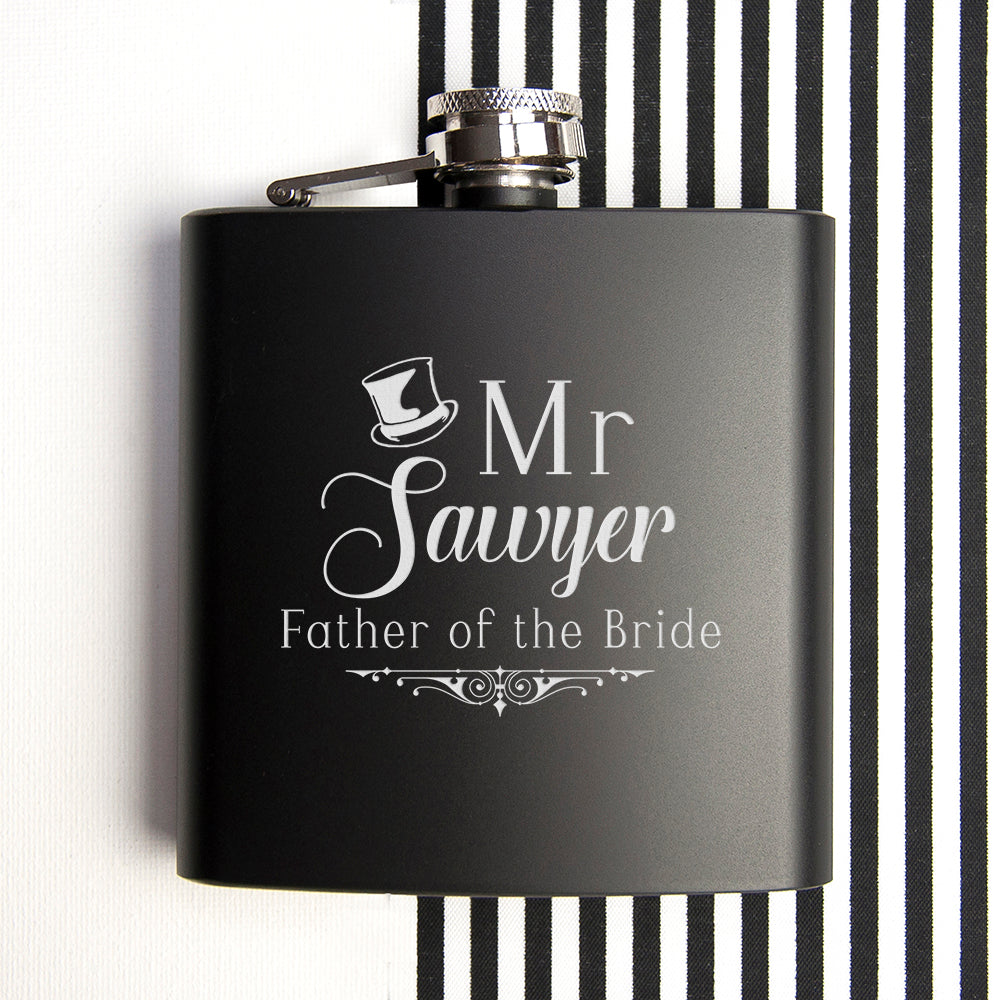 Father Of The Bride Personalised Black Matte Hip Flask - treat-republic