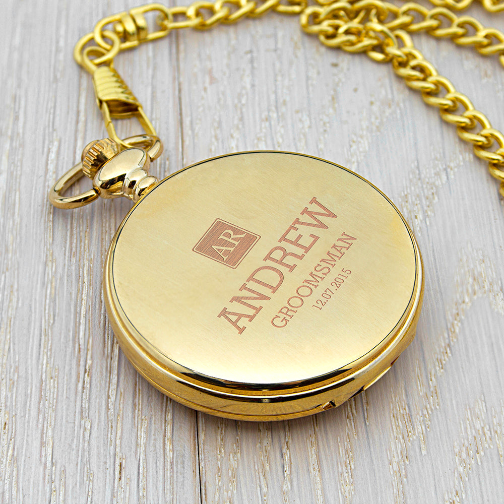 Personalised Groomsman Monogram Collection Pocket Watch - treat-republic
