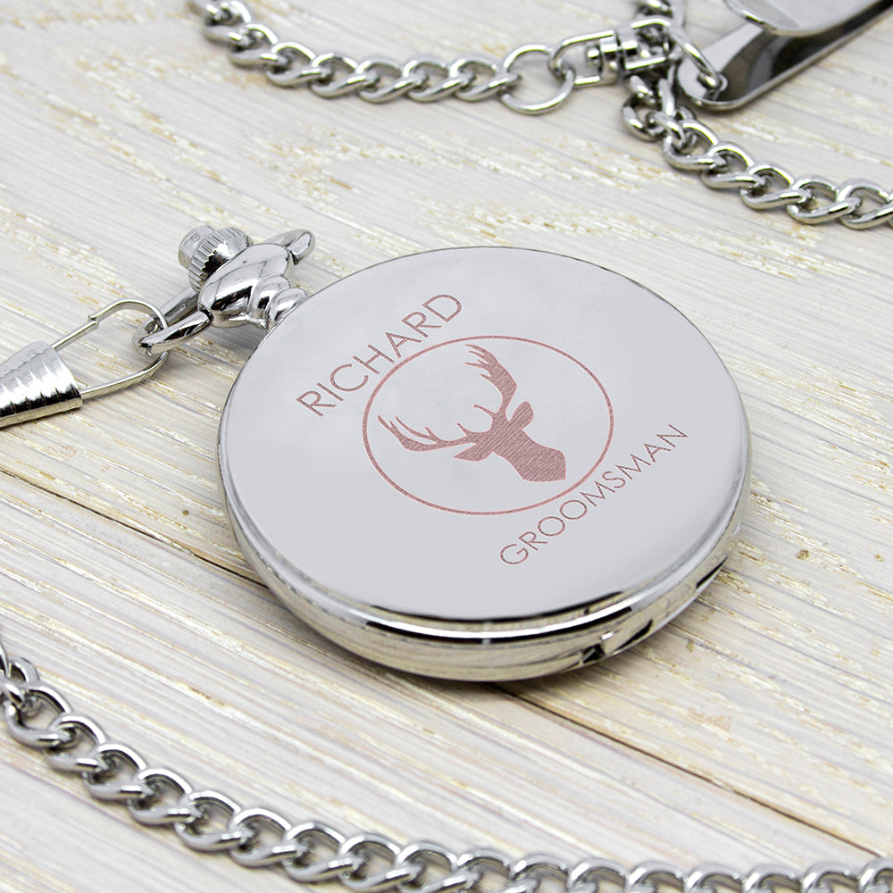 Personalised Groomsman Stag Pocket Watch - treat-republic