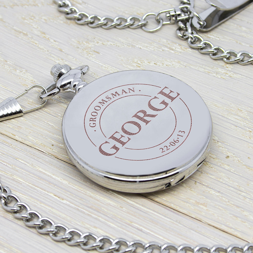 Personalised Groomsman Emblem Pocket Watch