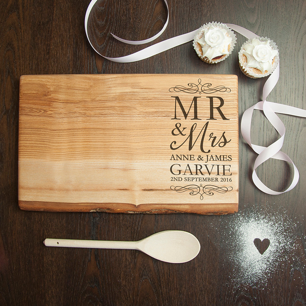 Personalised Mr & Mrs Romantic Rustic Welsh Ash Serving Board - treat-republic