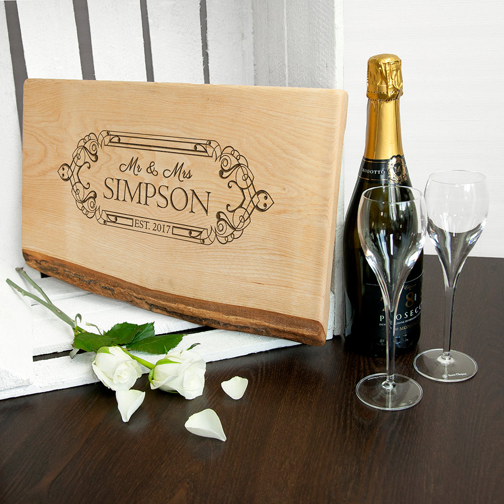 Personalised Wedding Date Rustic Welsh Ash Serving Board - treat-republic