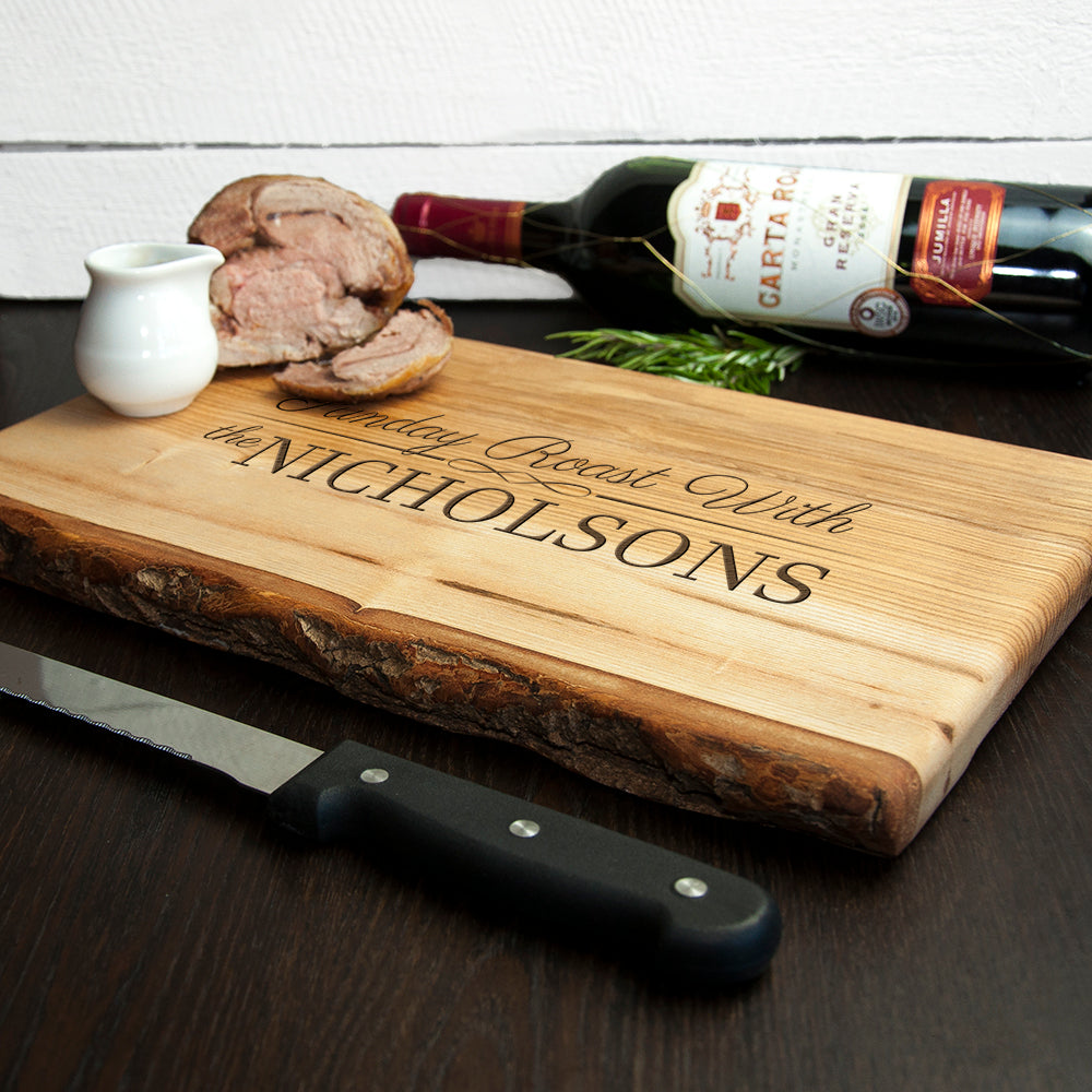 Personalised Sunday Roast Rustic Carving Board