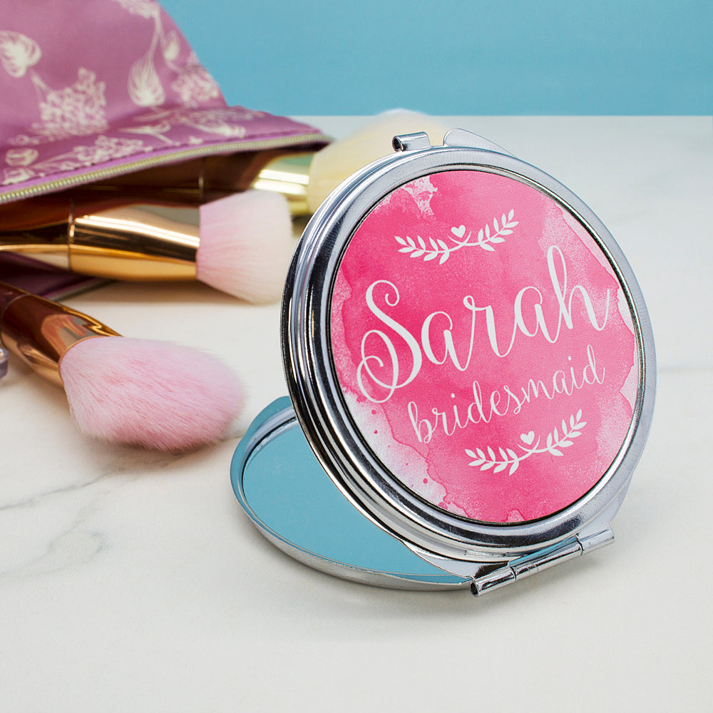 Personalised Wedding-Glam Compact Mirrors - Round - treat-republic
