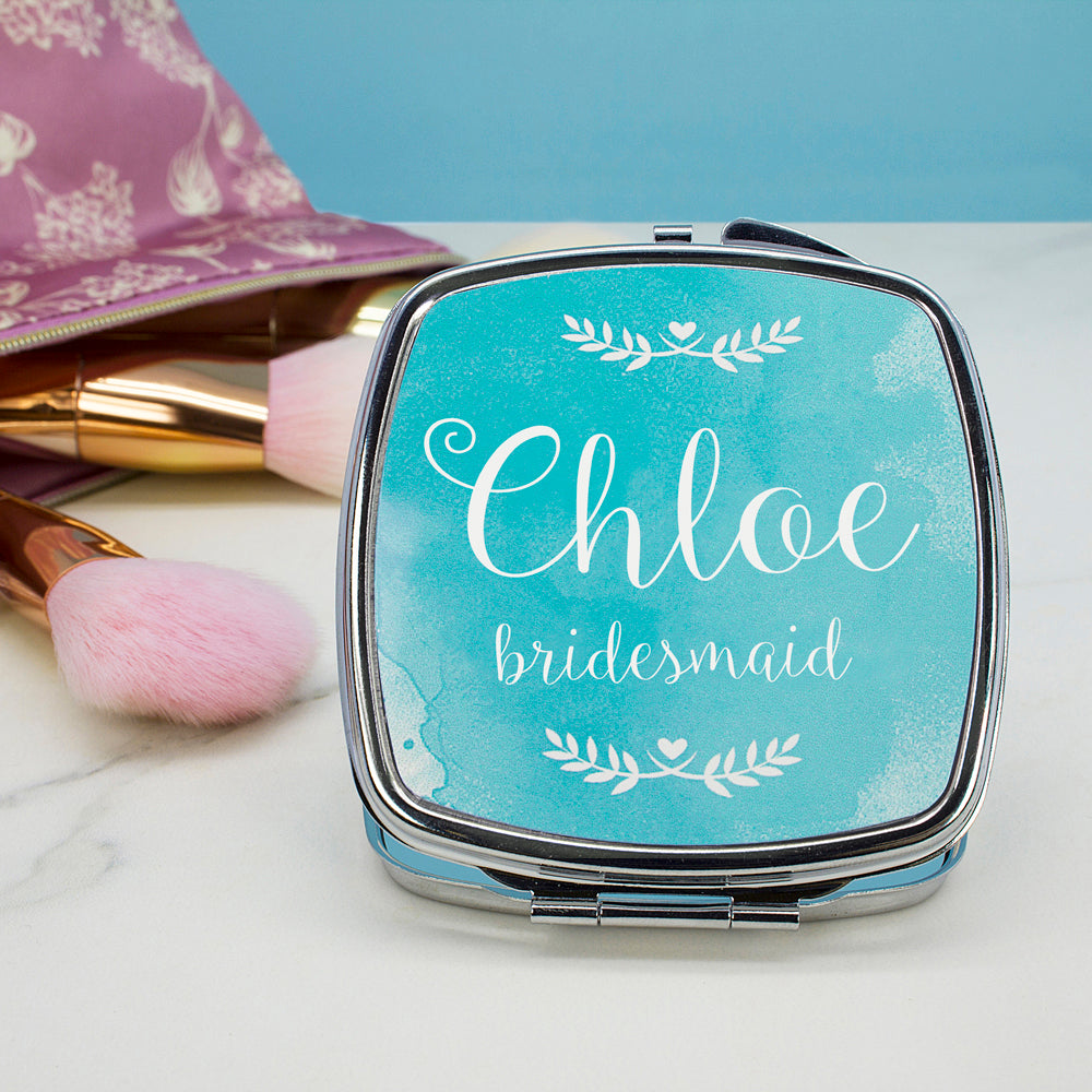 Personalised Wedding-Glam Compact Mirrors - Square - treat-republic