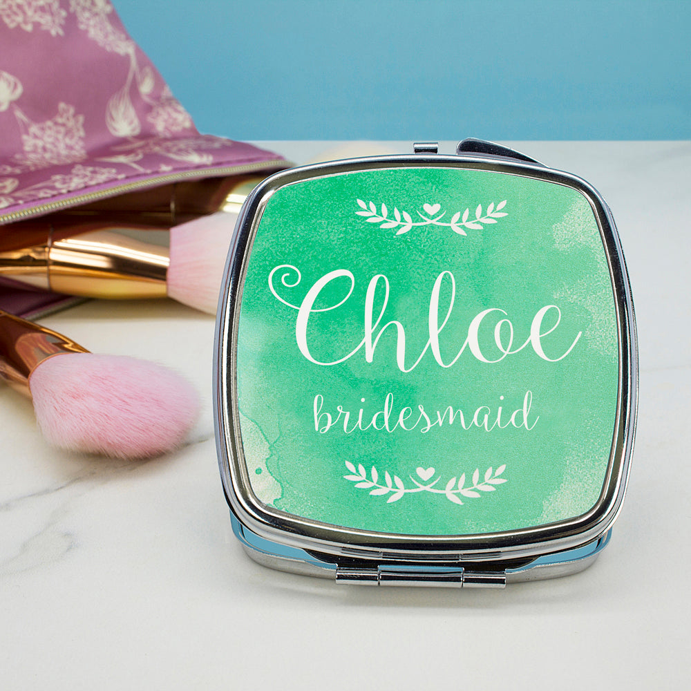 Personalised Wedding-Glam Compact Mirrors - Square