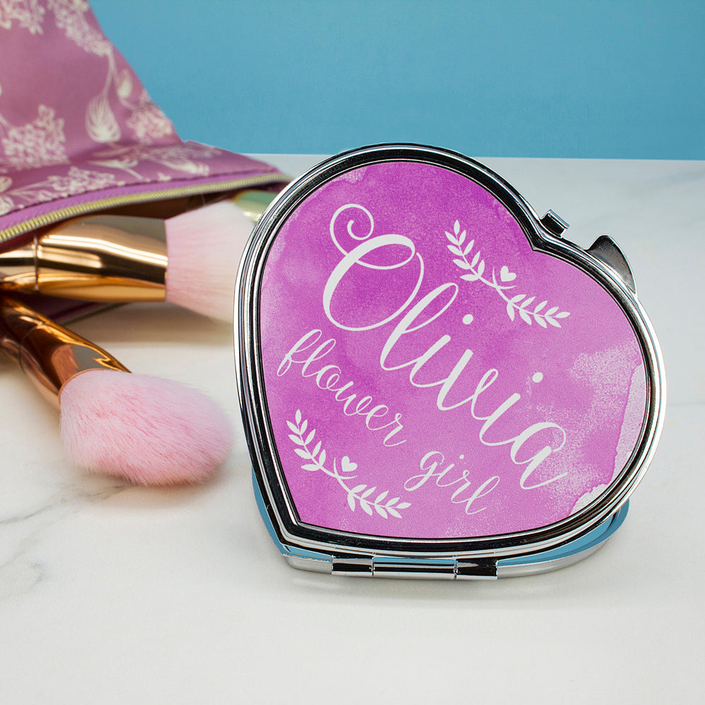Personalised Wedding-Glam Compact Mirrors - Heart