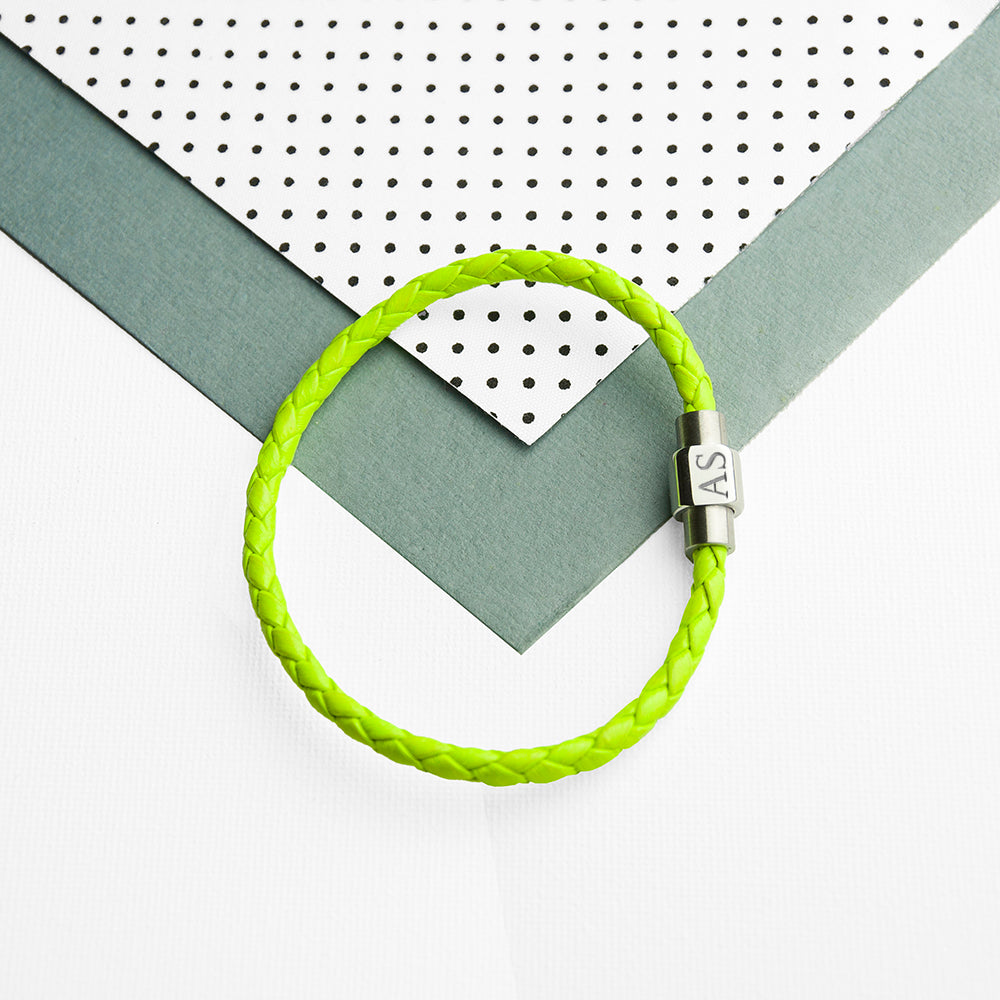 Personalised Unisex Woven Leather Bracelet In Chartreuse Green - treat-republic