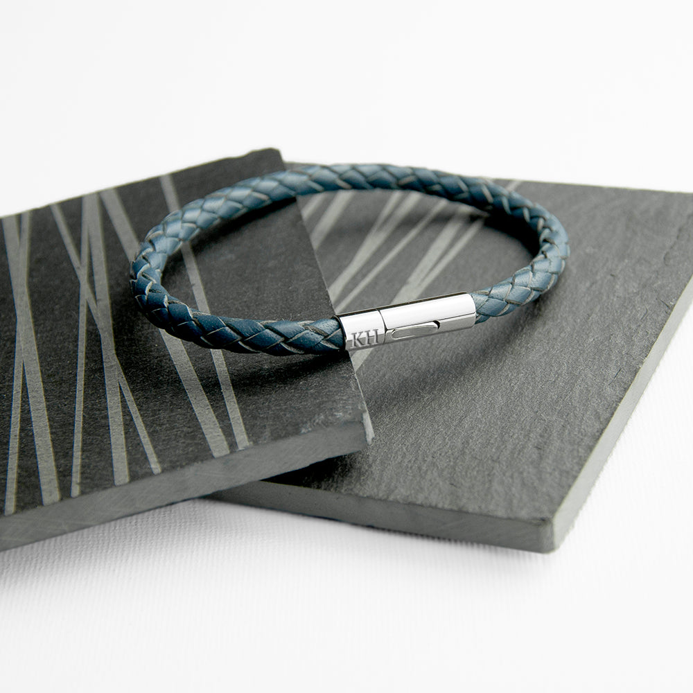 Personalised Men's Capsule Tube Woven Bracelet In Aegean Blue - treat-republic