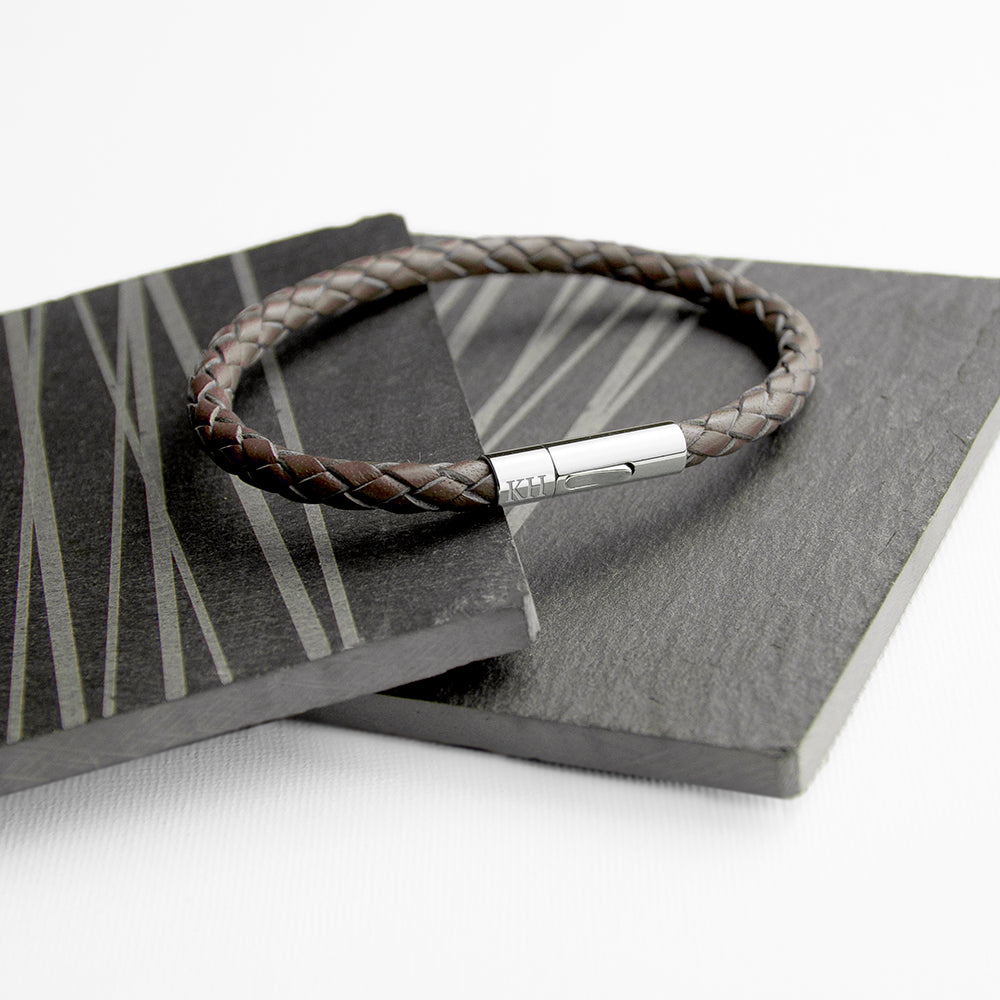 Personalised Men's Capsule Tube Woven Bracelet In Cedar Brown - treat-republic