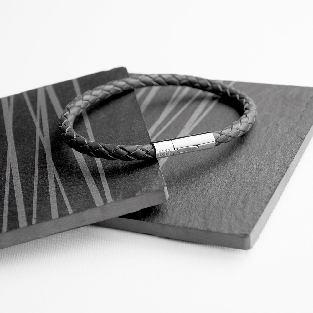 Personalised Men's Capsule Tube Woven Bracelet In Black - treat-republic