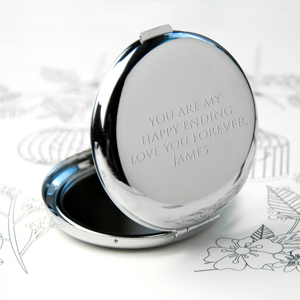 Personalised Silver Plated Lucky Sixpence Compact Mirror