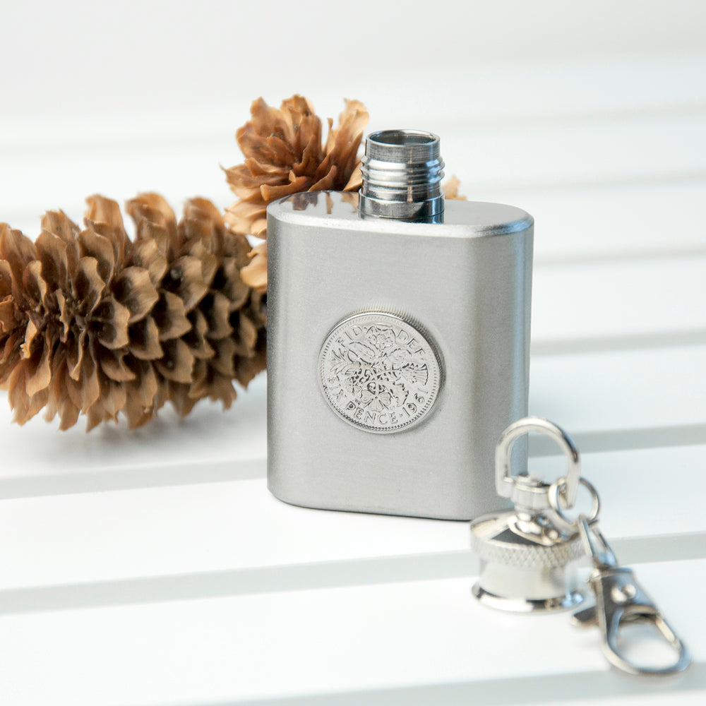 Personalised Silver Plated Lucky Sixpence Mini Hip Flask - treat-republic
