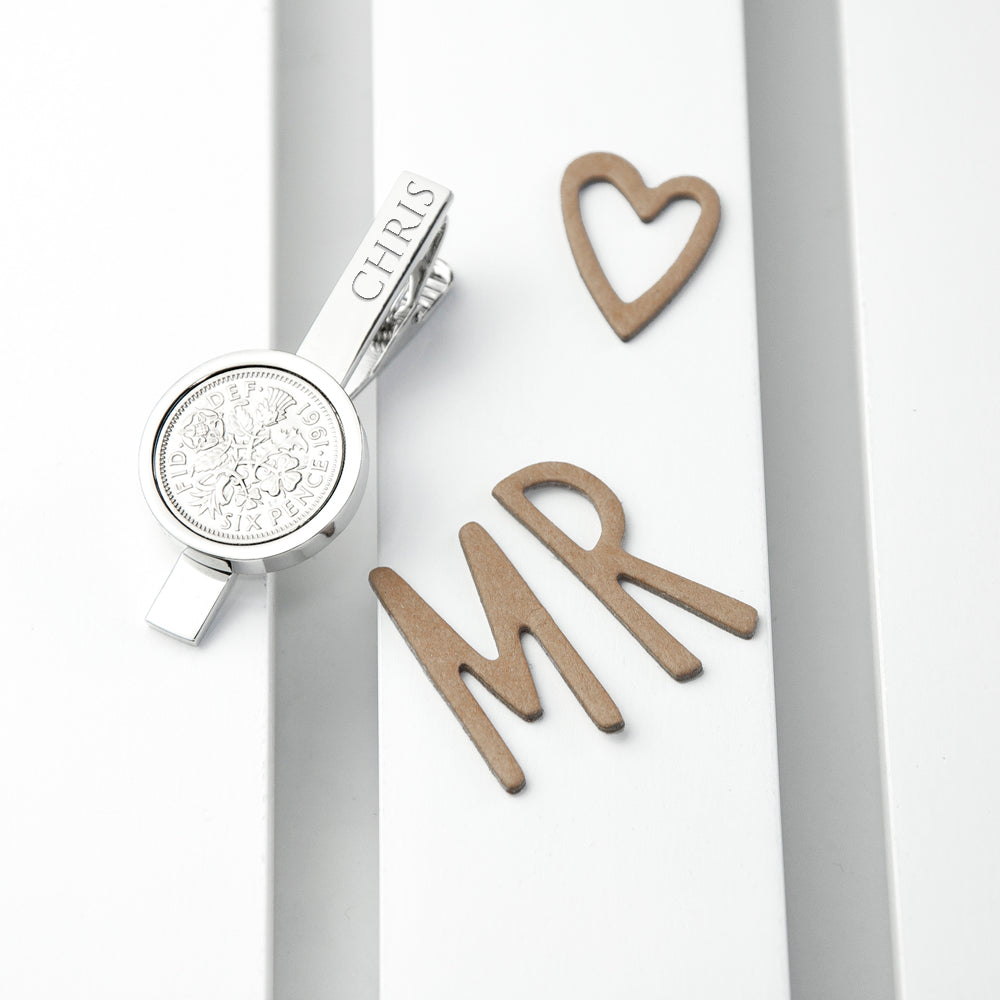 Personalised Silver Plated Lucky Sixpence Tie Clip - treat-republic