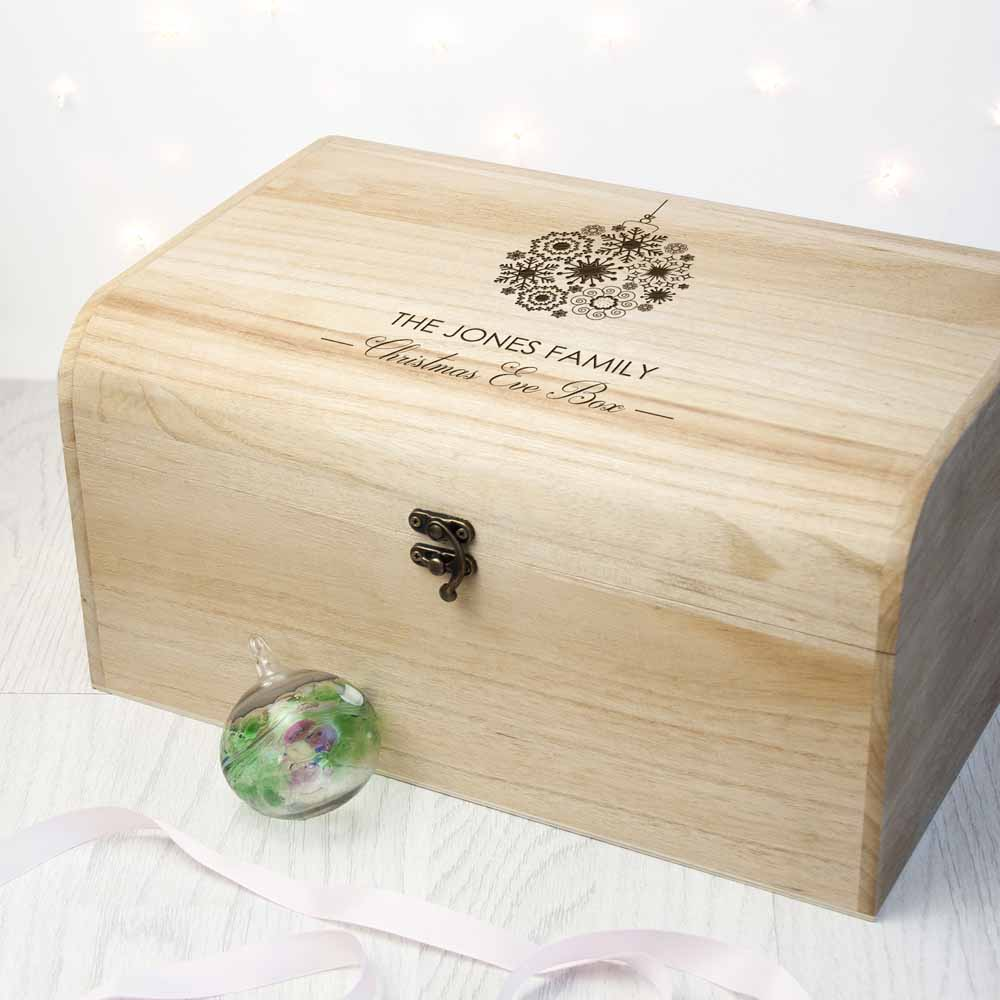 Personalised Family Christmas Eve Chest With Decorative Bauble Design - treat-republic