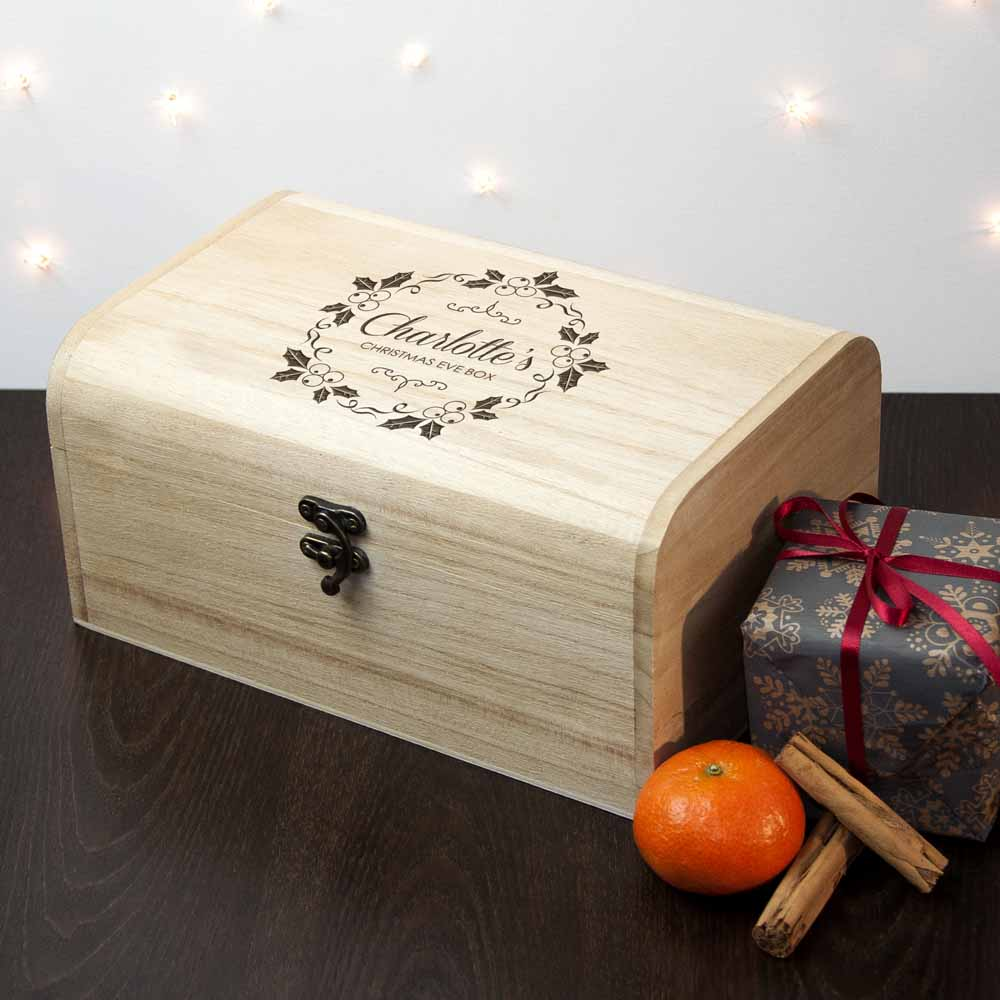 Personalised Christmas Eve Chest With Mistletoe Wreath - treat-republic