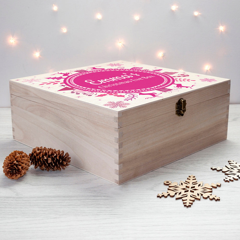 Personalised Christmas Eve Box With Snowflake Wreath - treat-republic