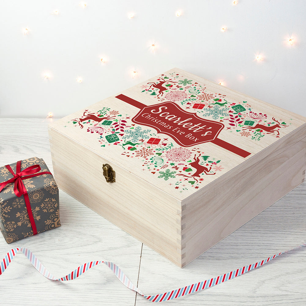 CHRISTMAS EVE BOX Red Glitter Image PERSONALISED Gift Idea Choose Size