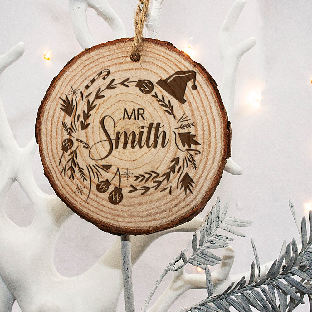 Personalised Engraved Set of Two Couple's Christmas Tree Decoration - treat-republic