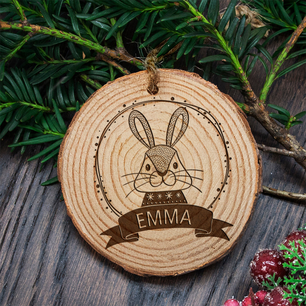 Personalised Woodland Rabbit Christmas Tree Decoration - treat-republic