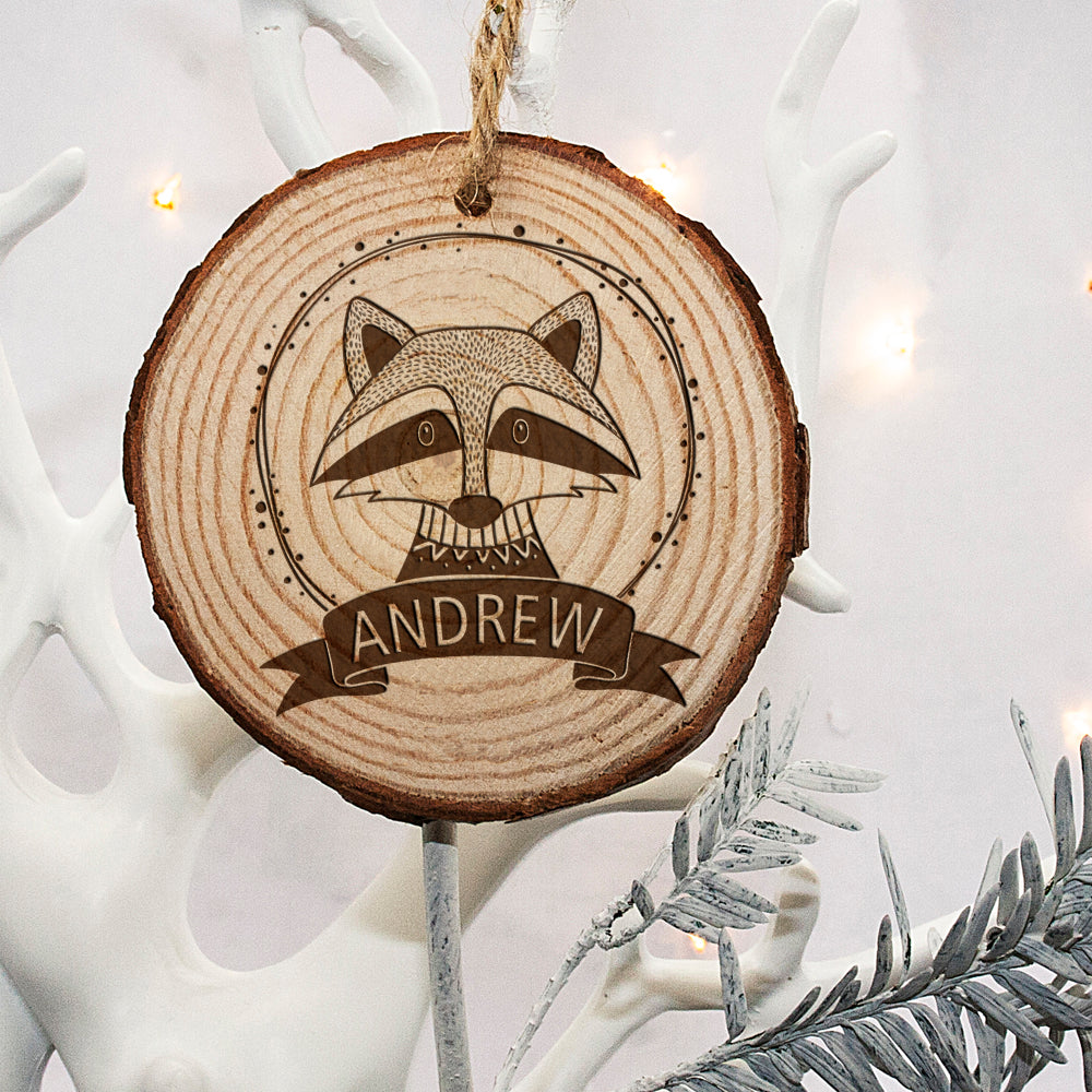 Personalised Woodland Raccoon Christmas Tree Decoration - treat-republic