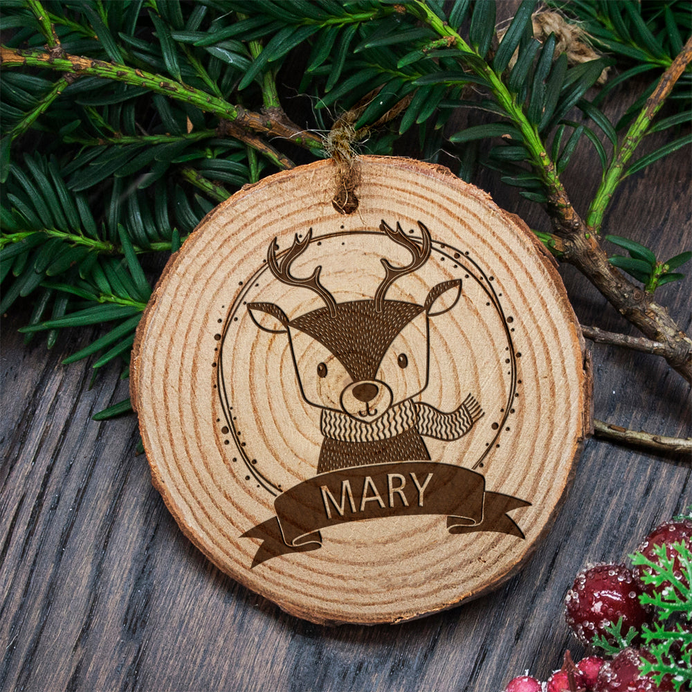 Personalised Woodland Reindeer Christmas Tree Decoration