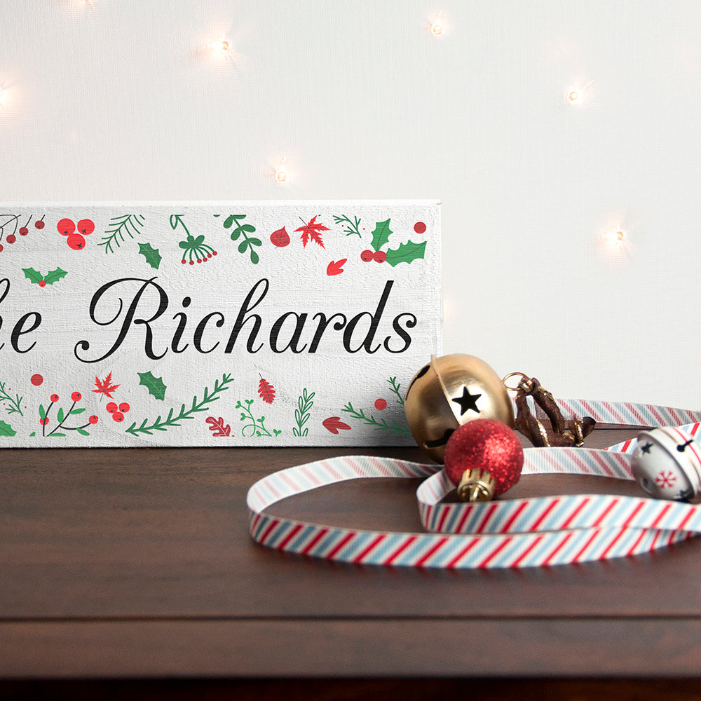 Personalised Holly Festive Christmas Mantle Decoration - treat-republic