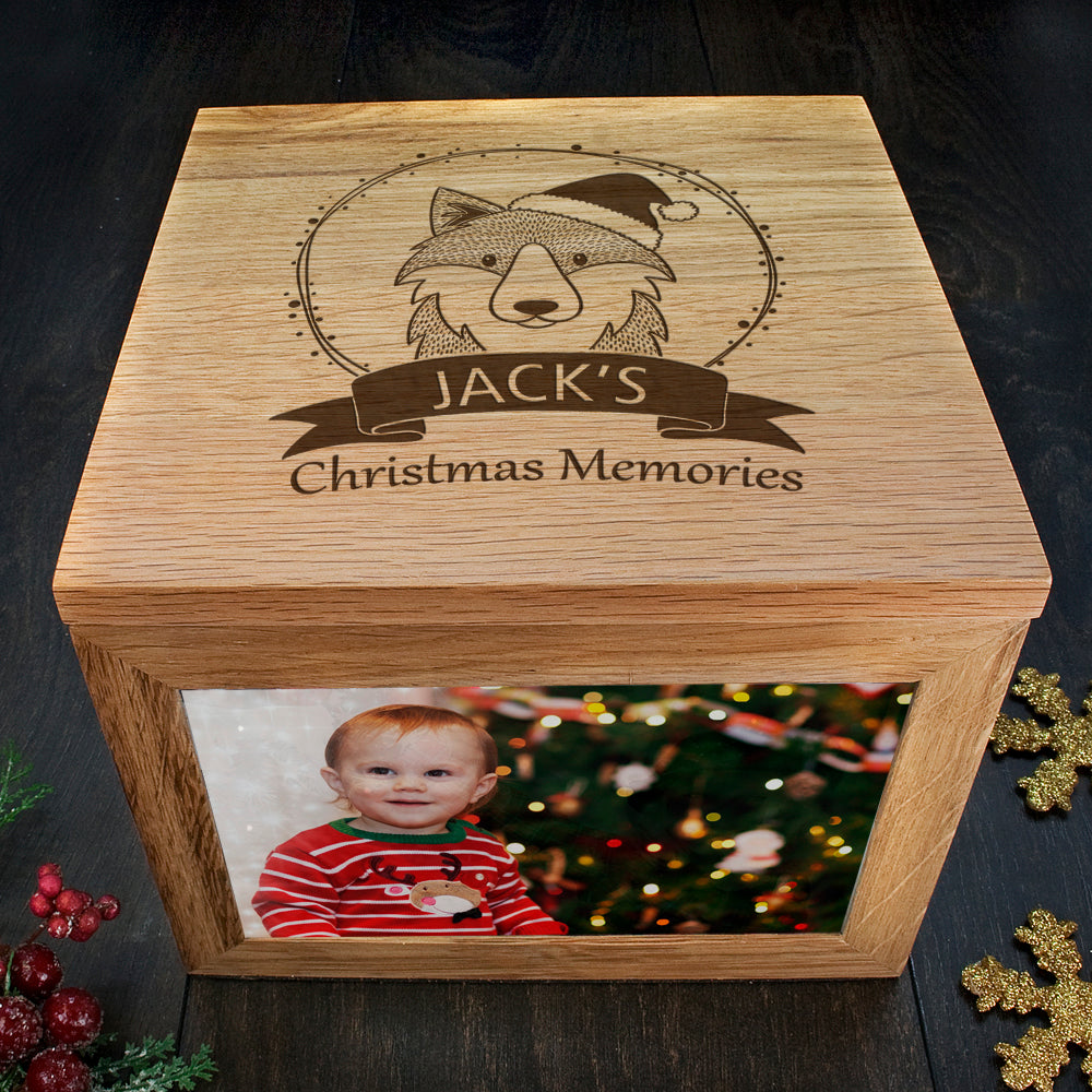 Personalised Woodland Wolf Christmas Memory Box - treat-republic