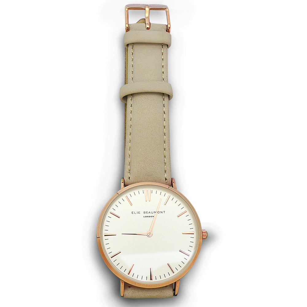 Elie Beaumont Ladies Personalised Leather Watch in Stone - treat-republic