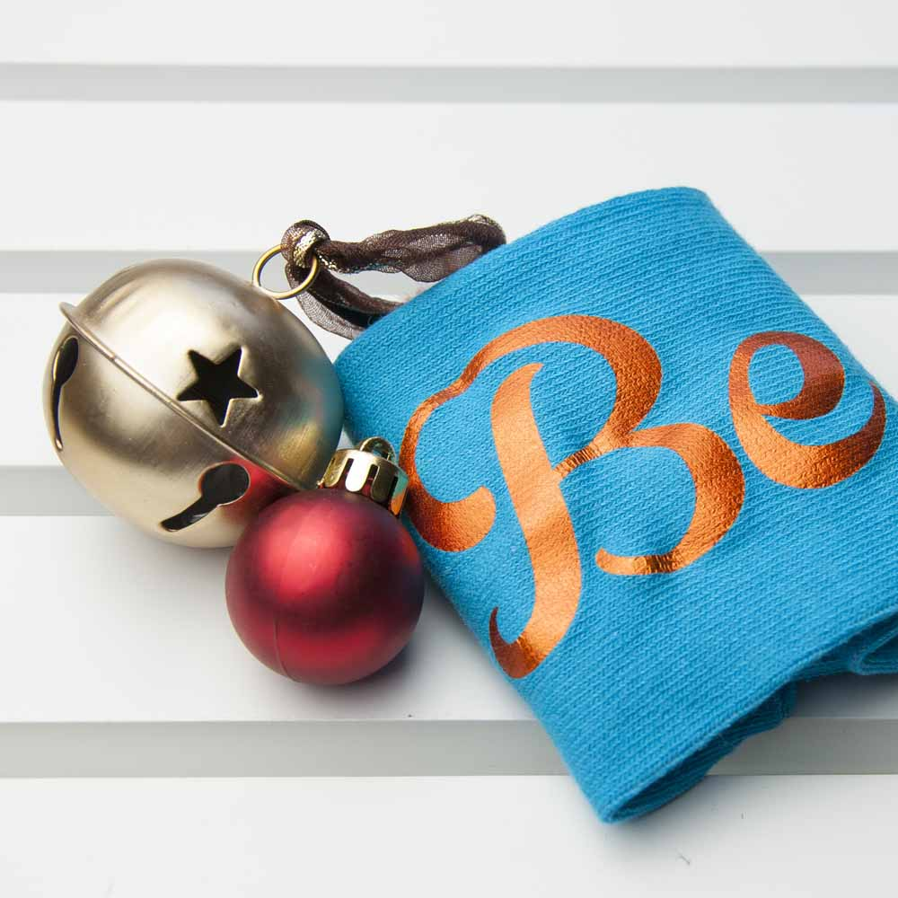 Personalised Turquoise & Terracotta Orange Christmas Day Socks - treat-republic