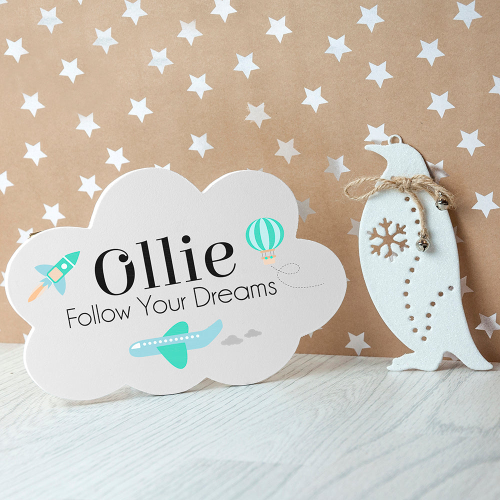 Personalised Follow Your Dreams Cloud Wall Hanging - treat-republic