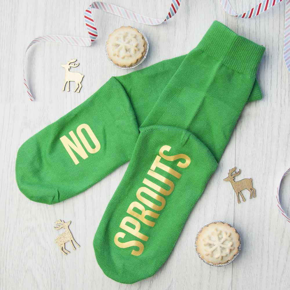 Personalised Sprout Green and Canary Yellow Christmas Day Socks - treat-republic