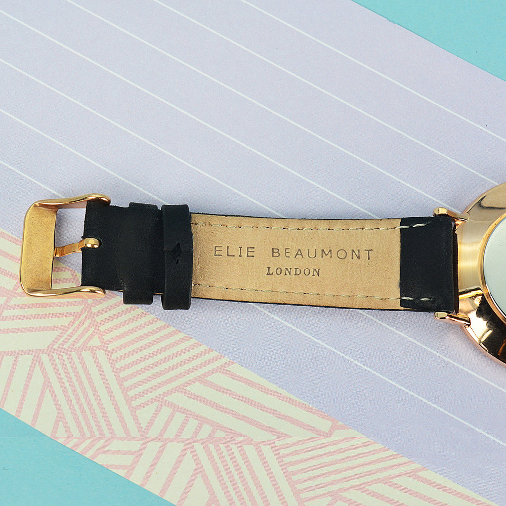 Elie Beaumont Ladies Personalised Leather Watch In Black With White Dial - treat-republic