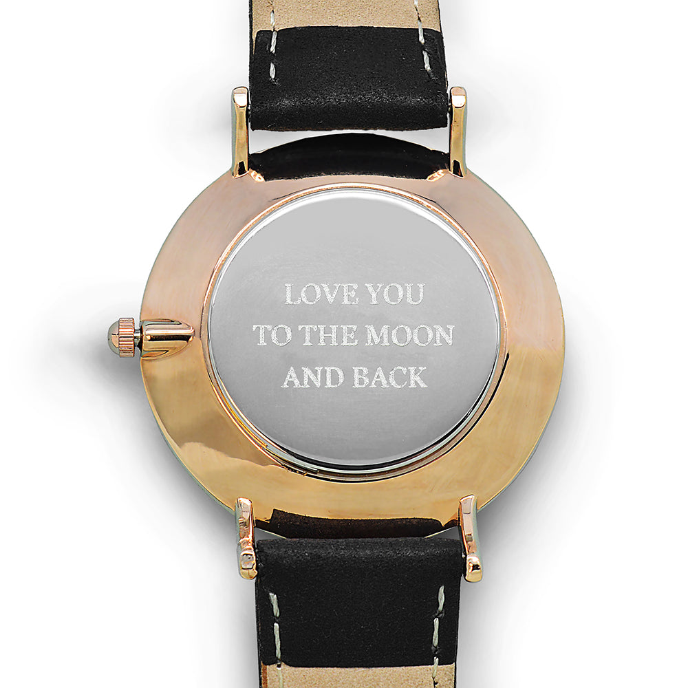 Modern - Vintage Personalised Leather Watch In Black With White Dial
