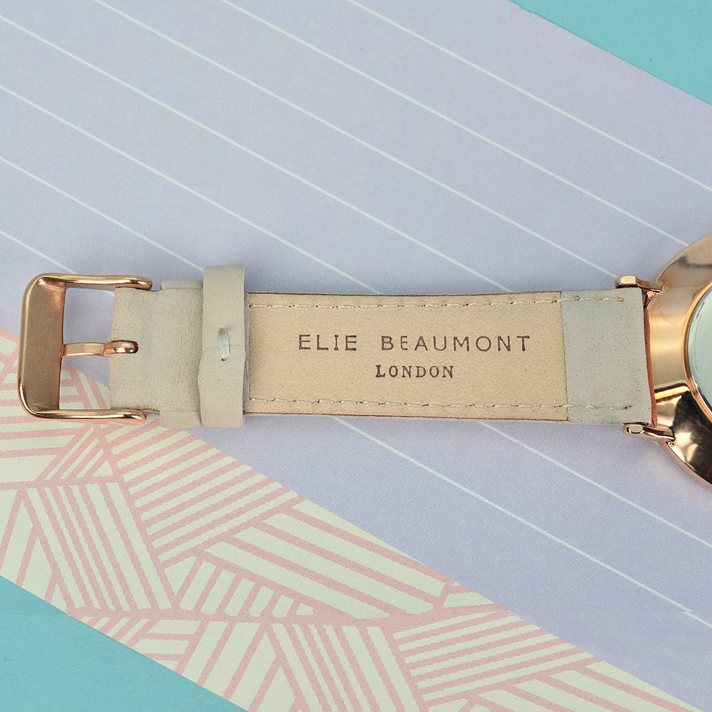 Elie Beaumont Ladies Personalised Leather Watch In Stone With Black Dial - treat-republic