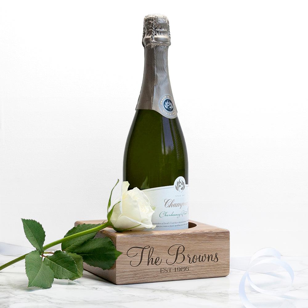 Personalised Solid Oak Champagne Holder - treat-republic