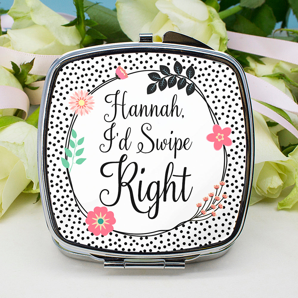 Personalised Tinder Square Compact Mirror - treat-republic