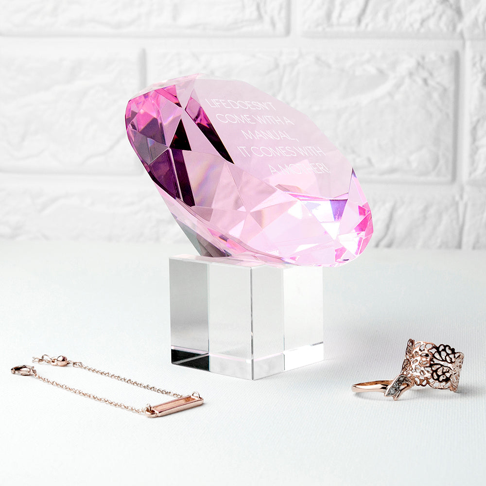 Personalised Pink Diamond Paperweight - treat-republic