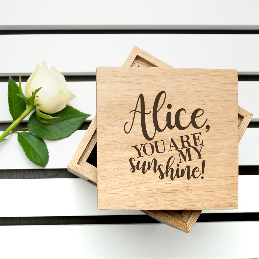 Personalised My Sunshine Oak Photo Cube - treat-republic