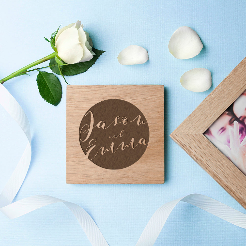 Personalised Typography Oak Photo Cube - treat-republic